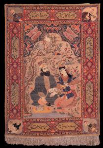 Antikk Tabriz-teppe med Omar Khayyam-motiv