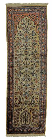 Bordløper fra Kashan, størrelse 127x41, laget av den mest glansfulle og rike silke som fins